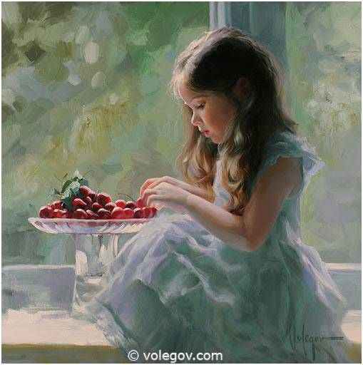LITTLE GIRL AND CHERRIES, painting,