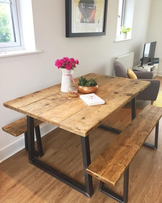 Industrial Dining Table & 2 Benches by IndustrialFurniCo on Etsy