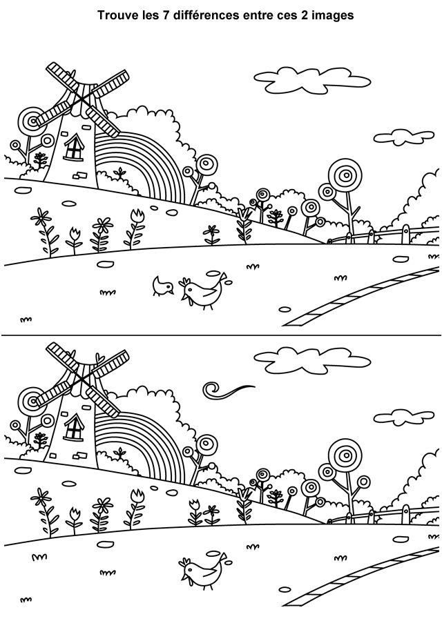 Jeu des différences à imprimer, la moulin                                                                                                                                                                                 More