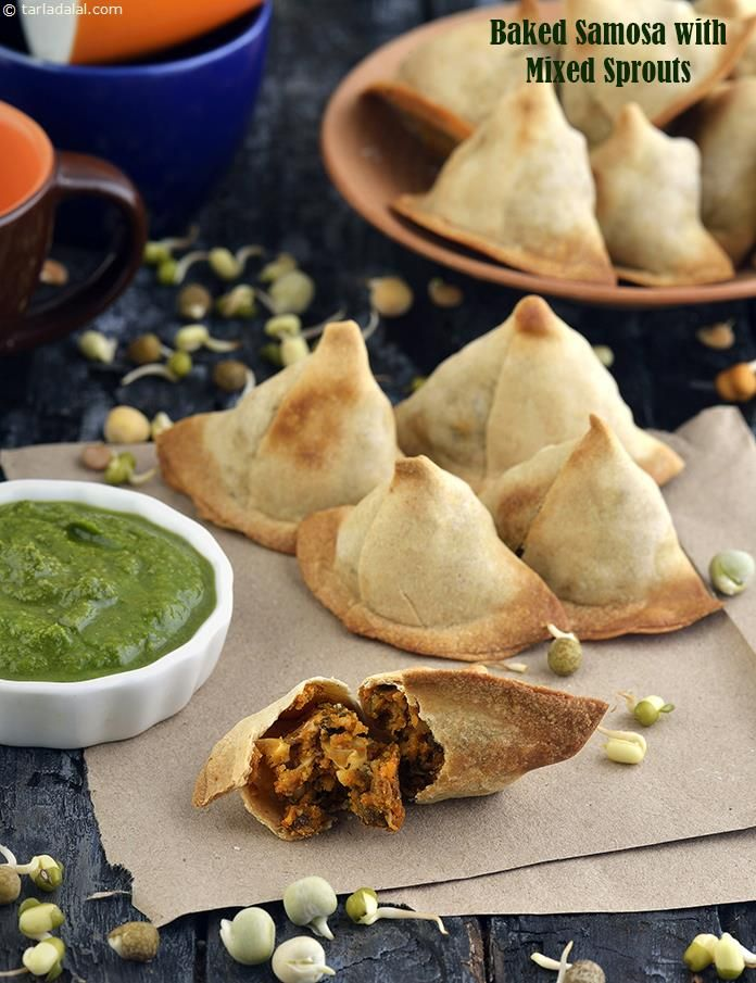 Baked Samosa with Mixed Sprouts, Healthy Snack