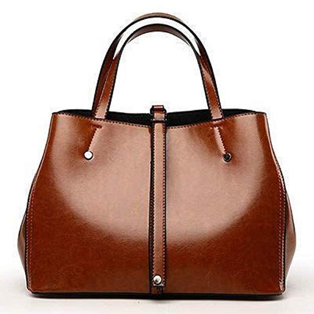 BagPrime Genuine Leather Tote Bag Top Handle Satchel Daily Work Tote Shoulder Bag