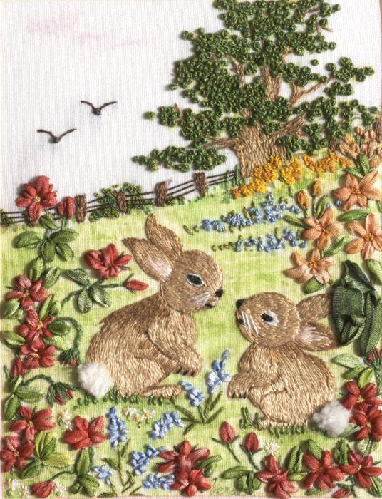 Aaaaaaw shucks! If those aren't just the cutest little embroidered bunnies! - From Di Van Niekerk