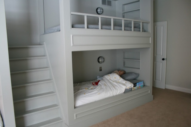 Our master bedroom is so small that I would love to build an area like this inside of the room (minus the bed on the bottom) as a sleeping loft so we could free up all the floor space. :)