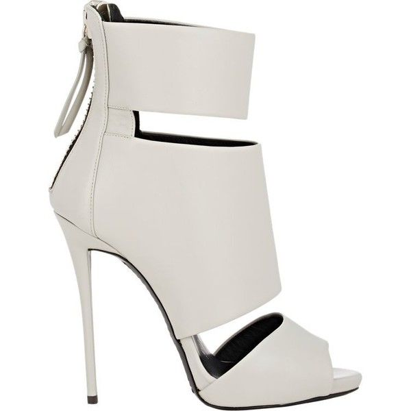 Giuseppe Zanotti Leather Cutout Ankle Boots ($549) ❤ liked on Polyvore featuring shoes, boots, ankle booties, heels, sandals, sapatos, grey, ankle boots, high heels stilettos and grey booties