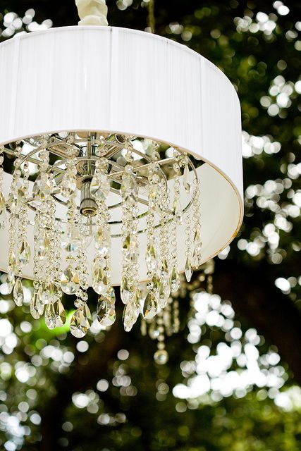I have an old lamp shade I can turn into this with crystals and solar lights added on! Perfect weekend craft!