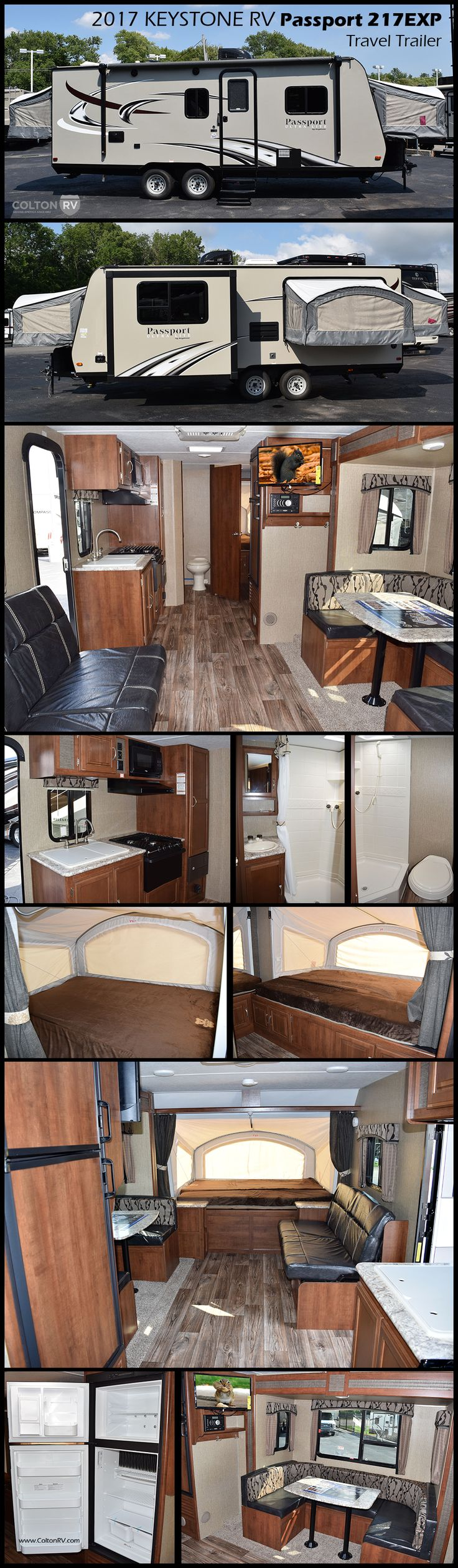 The 2017 Keystone RV Passport Ultra-Lite 217EXP Expandable Travel Trailer has been specifically engineered to maximize sleeping capacity while keeping both weight and overall length of the trailer in mind without sacrificing the look, comfort and amenities. The tent system makes setting up and tearing down your hybrid a breeze. You no longer have to worry about awkward support bars or the tent canvas not being properly sealed to the tent door.