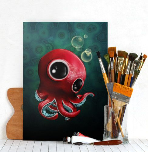 octopus sea ocean cute chibi wildlife cartoon toon kawaii Animals