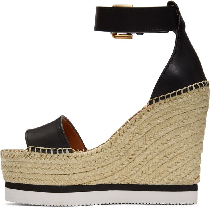 See by Chloé - Black Leather Wedge Espadrilles