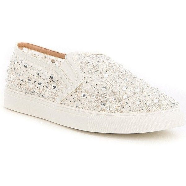 Antonio Melani Garner Lace Stone Embellished Slip-On Sneakers found on Polyvore featuring shoes, sneakers, pull on shoes, antonio melani shoes, embellished sneakers, slip on trainers and lace shoes