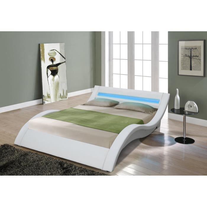venus lit adulte avec led 160x200 cm + sommier - blanc
