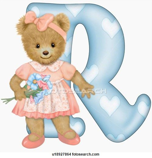 Illustration of The capital letter R with teddy bear