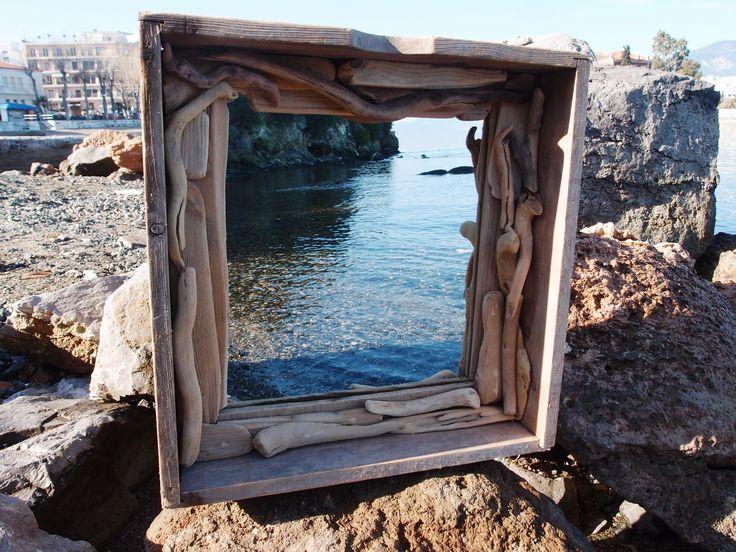 καθρέπτης από θαλασσόξυλα /driftwood  mirror...54χ53 cm