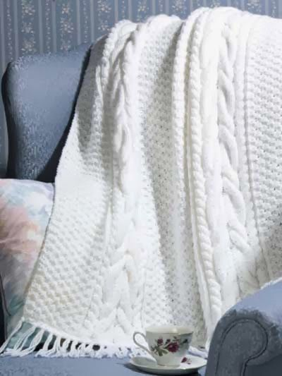 Free Knit Pattern: Horseshoe Cable Afghan Free Knit ...