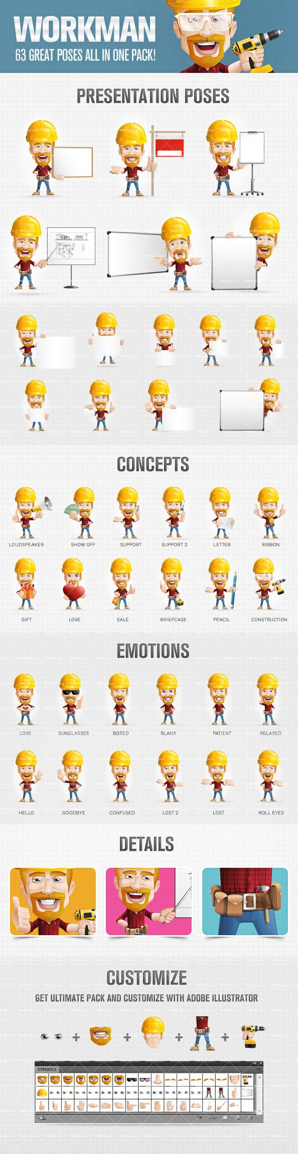Worker cartoon character designed in super clean, eye-catching 3D look