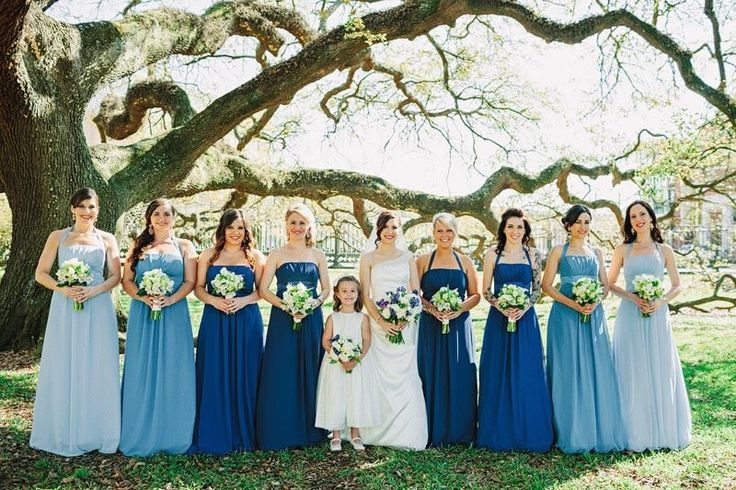 Shades of blue bridesmaids (also love the lineup of this photo)