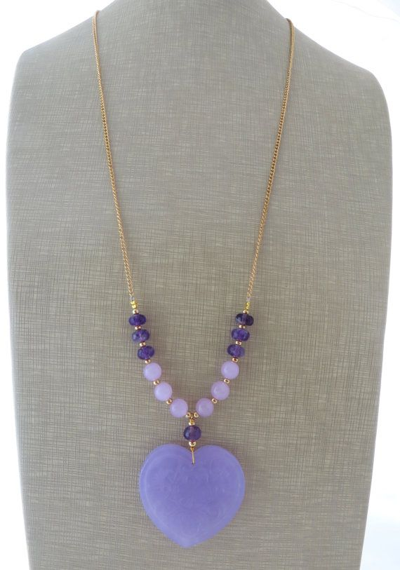 Lavender jade necklace heart necklace long pendant by Sofiasbijoux