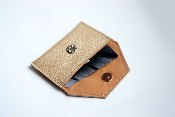 Nude Business Card Leather Holder Leather wallet by PansyBag