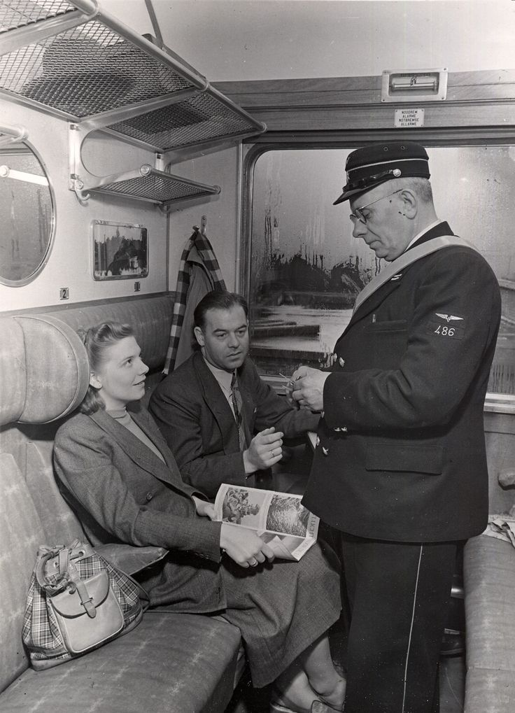 Train Conductor, ca 1951. Did you know the Conductor is in charge of the train, not the Engineer? It's like the relationship of Captain and Pilot on a ship.
