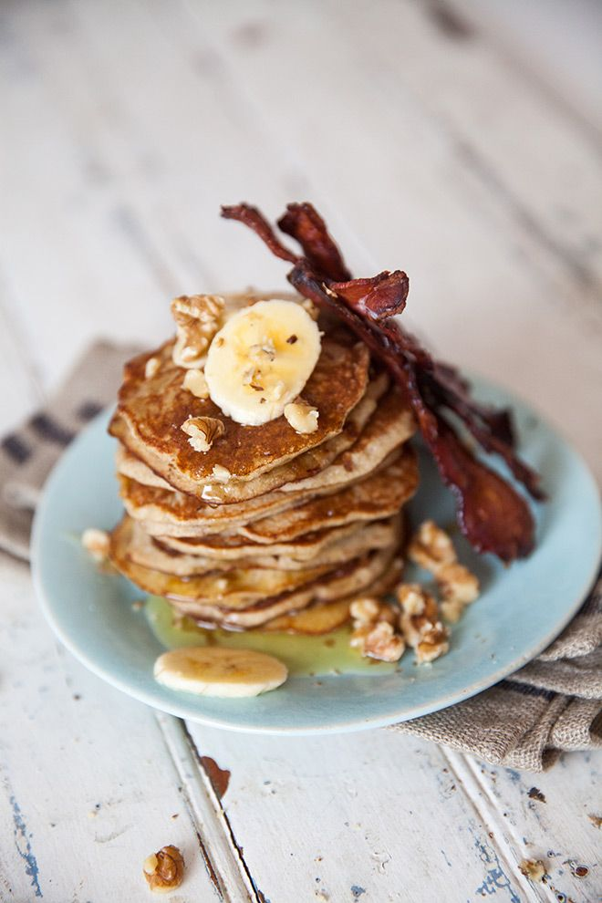 Grain-free banana flapjacks with honey glazed bacon and walnuts.