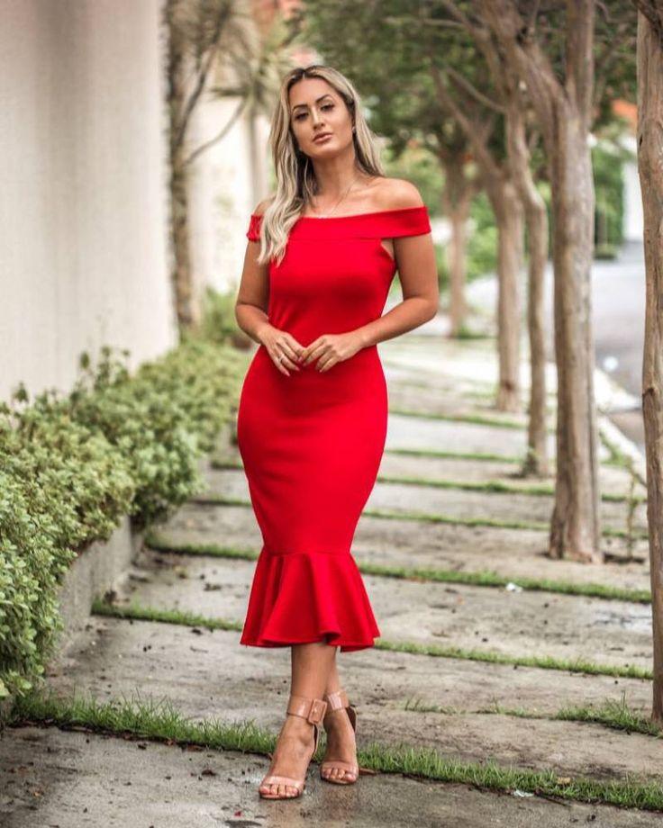 Vestido Midi Ombro a Ombro Vermelho | Vestidos, Vestido vermelho, Vestido tubinho vermelho