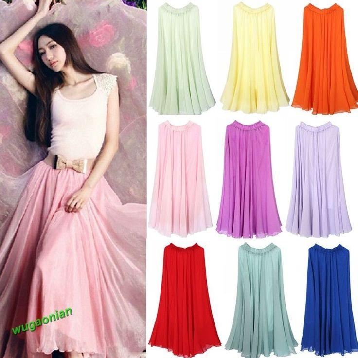 New Women's Ladies Full Circle Chiffon Skirt Long Maxi Summer Dress Skirt #Unbranded #Maxi #Casual