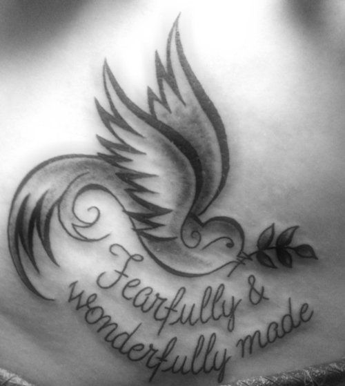 This is what I'm in a get for my gramps! Except the saying will be, never give up, (never back down.). And the dove will have a white ribbon... My grandparents are religious and the dove represents the Holy Spirit, hope and peace.. The white ribbon is his battle with lung cancer.. And the saying is because he will never give up he is a fighter!!