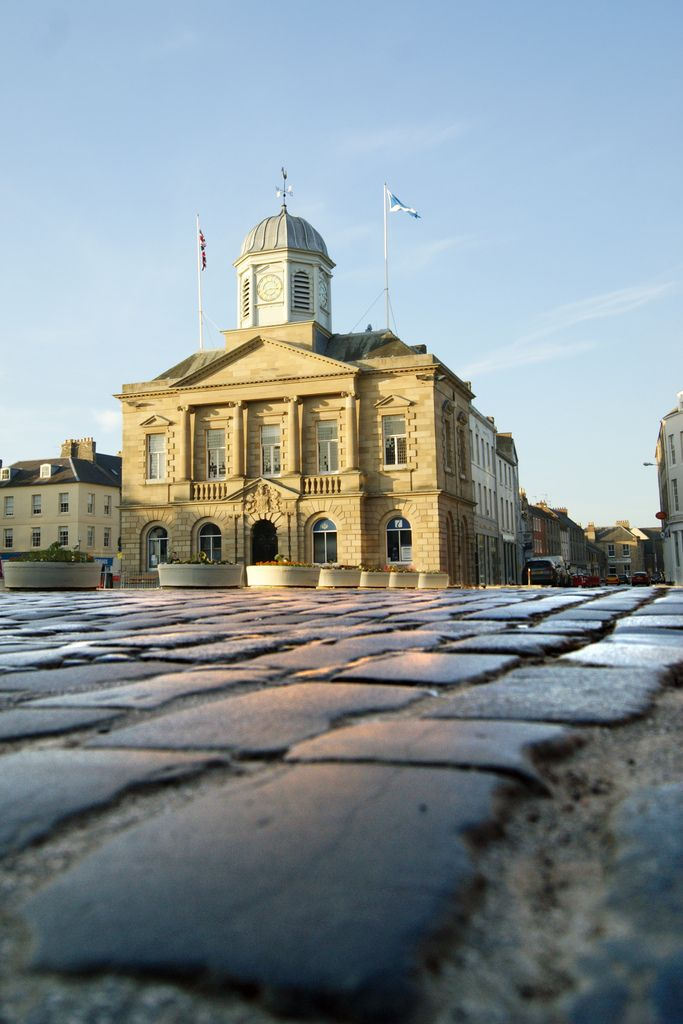 This is Kelso town hall taken from ground level to show the cobbles which pave the main roads through the town.