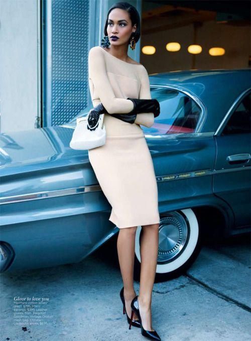 Joan Smalls in Vogue wearing Max Mara and Christian Louboutin heels.