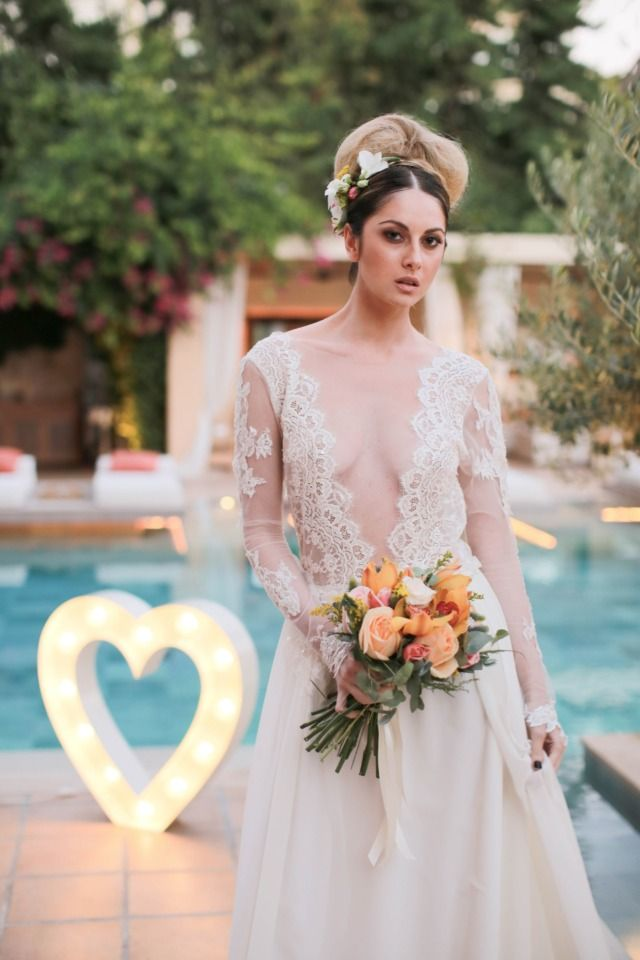 Getting Edgy By The Pool With This Peach Yellow And Grey Shoot