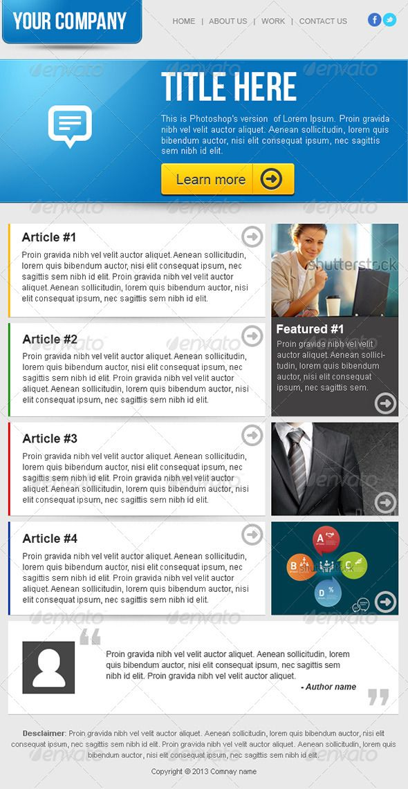Clean business email newsletter template newsletter for Corporate newsletter design inspiration