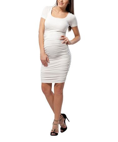 Love this Snow White Ruched Maternity Sheath Dress by Miccimo on #zulily! #zulilyfinds