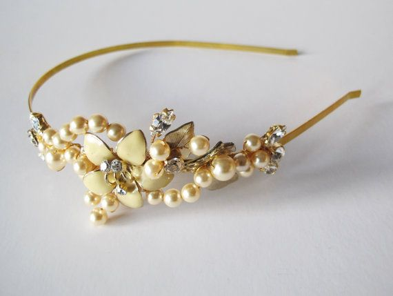 Bridal Vintage Gold Flower and Pearl by LucyFisherDesigns on Etsy