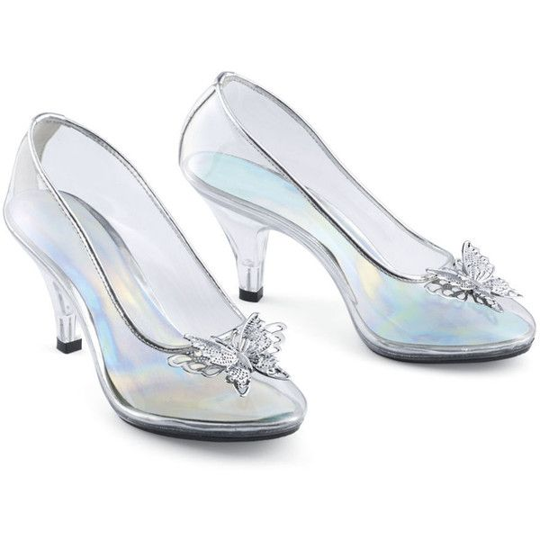 Butterfly Slippers Size 6 (1,115 MXN) ❤ liked on Polyvore featuring shoes, heels, butterfly shoes, clear shoes, vinyl shoes and clear vinyl shoes