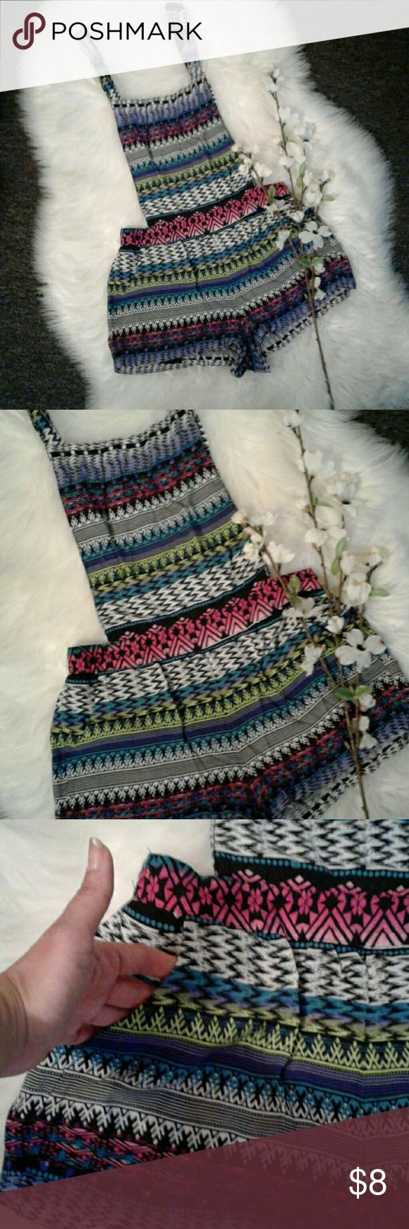 """Rue 21 SMALL Aztec Multiway Overall Romper Excellent condition  100% rayon Stretch elastic waist 2 front slip in pockets  Multiway over all straps 3 adjustable length shoulder straps Waist of shorts: 13.5"""" (relaxed) Inseam: 1.5"""" Rue 21 Shorts"""