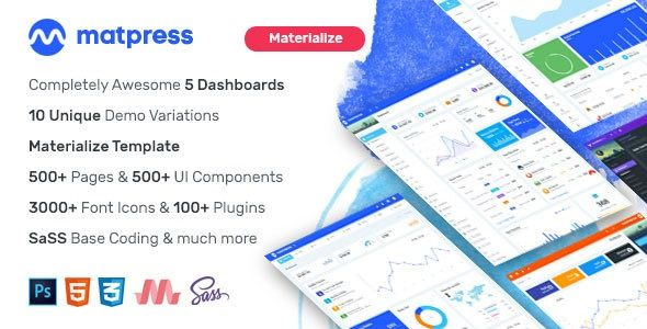 Matpress Materialize Admin Template Materialpress Admin Is Based