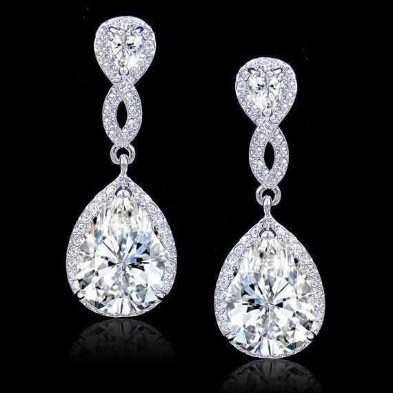 Vintage Style Diamond Cut AAA Zircon Bridal Earrings, Swarovski Crystal Earring, Silver Teardrop Earring, Bridesmaid Jewelry-172461054