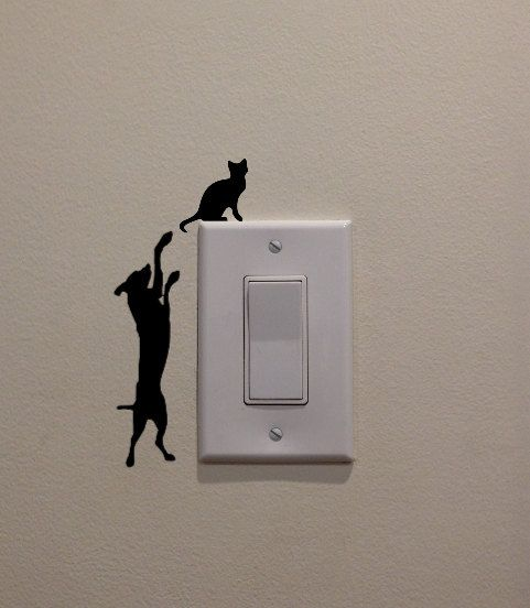 Dog Jumping at Cat on the Light Switch 2.5 x by DecalPhanatics