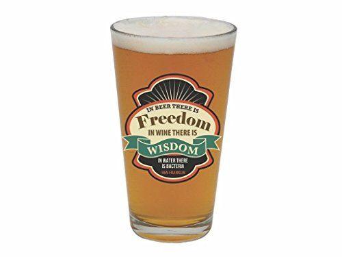Santa Barbara Design Studio In Beer There is Freedom Barstool Philosopher Pint Glass Multicolor