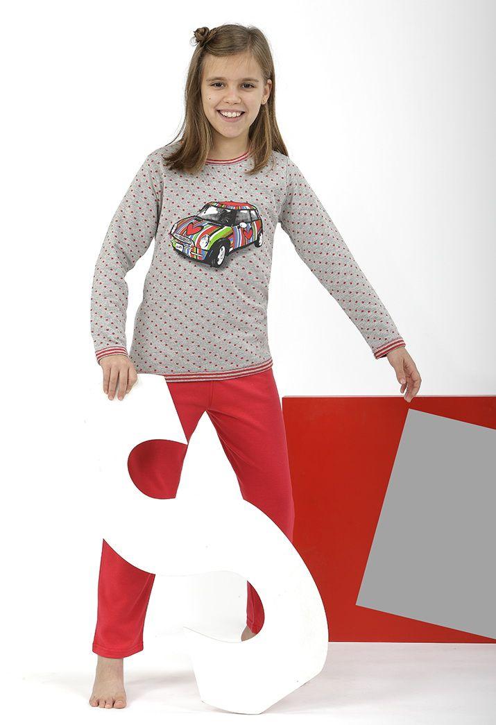 Pijama super cuqui a topitos con coche corazón multicolor <3