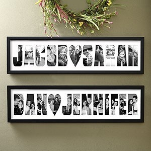 Instead of doing pictures of us, I might make this with pictures of things he likes and frame it for his dorm room!