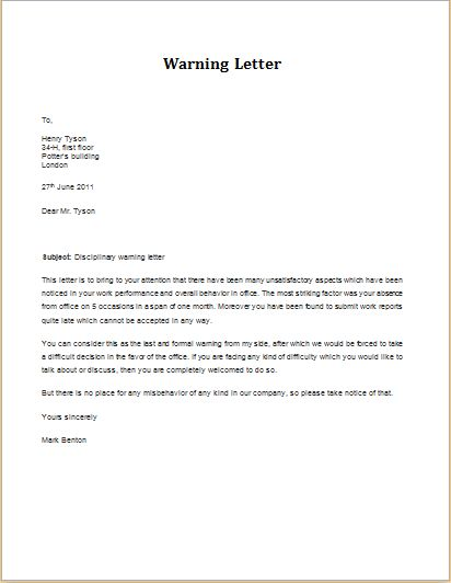 Discipline Violation Warning Letter DOWNLOAD at    www - Warning Letter