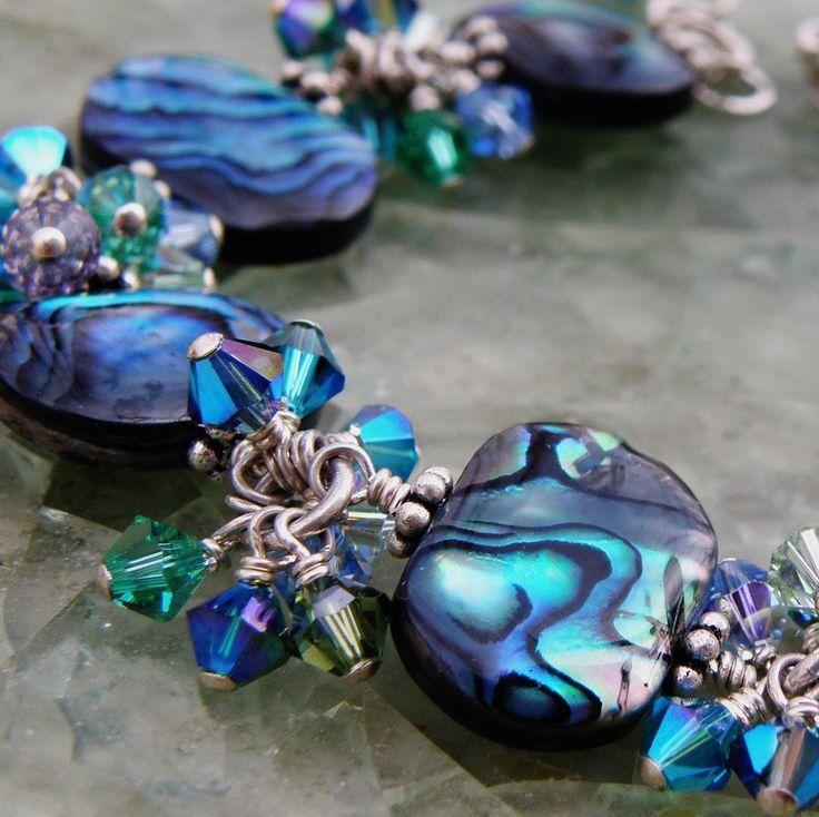 Abalone Bracelet, Swarovski Crystals, Sterling Silver, Beach Wedding, Handmade Shell Jewelry. $175.00, via Etsy.