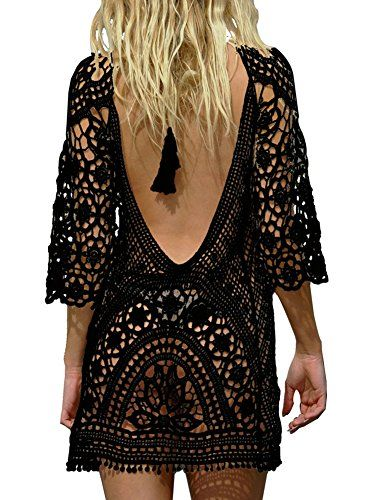Pinkmilly Women S Bathing Suit Cover Up Crochet Lace Swimsuit Dress