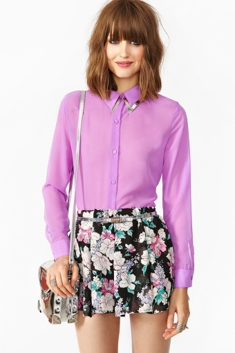 Ava purple Chiffon Blouse