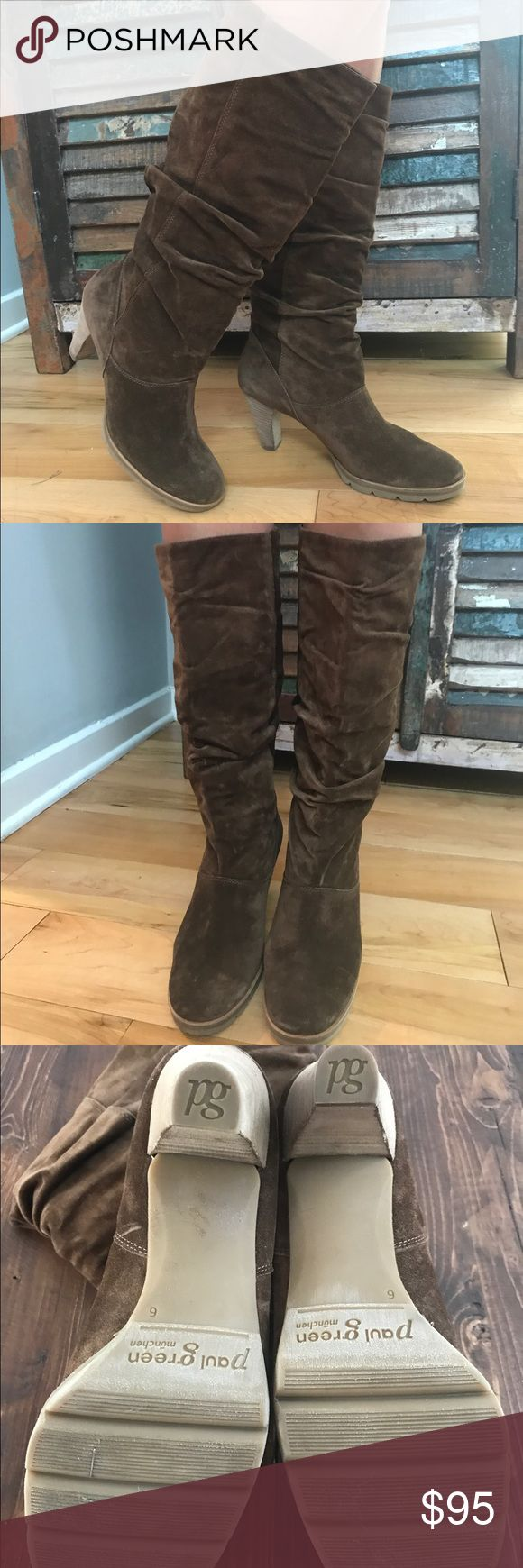 """Like new Paul Green brown suede boots Beautiful boots by Paul Green!! Worn only once, see photos no wear marks or tears about a 2"""" heel marked as an 8.5 but is a true size 8 Paul Green Shoes Heeled Boots"""