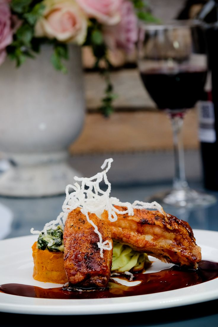 Asian Pork Belly with Spinach Rosti, Basil Mash and Crispy Noodles