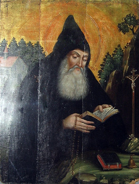 "(ca. 250 - 356) Anthony the Great abandoned his wealthy inheritance to live in the Egyptian desert (ca. 270) toward his longing for inner purity, solitude, and his commitment to follow Jesus into the desert. Bass states, ""he was the first to join the geography of the land and its struggle of isolation with the spiritual struggle of the soul."" Anthony was, ""martyred in Alexandria when more than one hundred years old."" (Bass, 702)  File:Anthony the Great armenia.jpg"