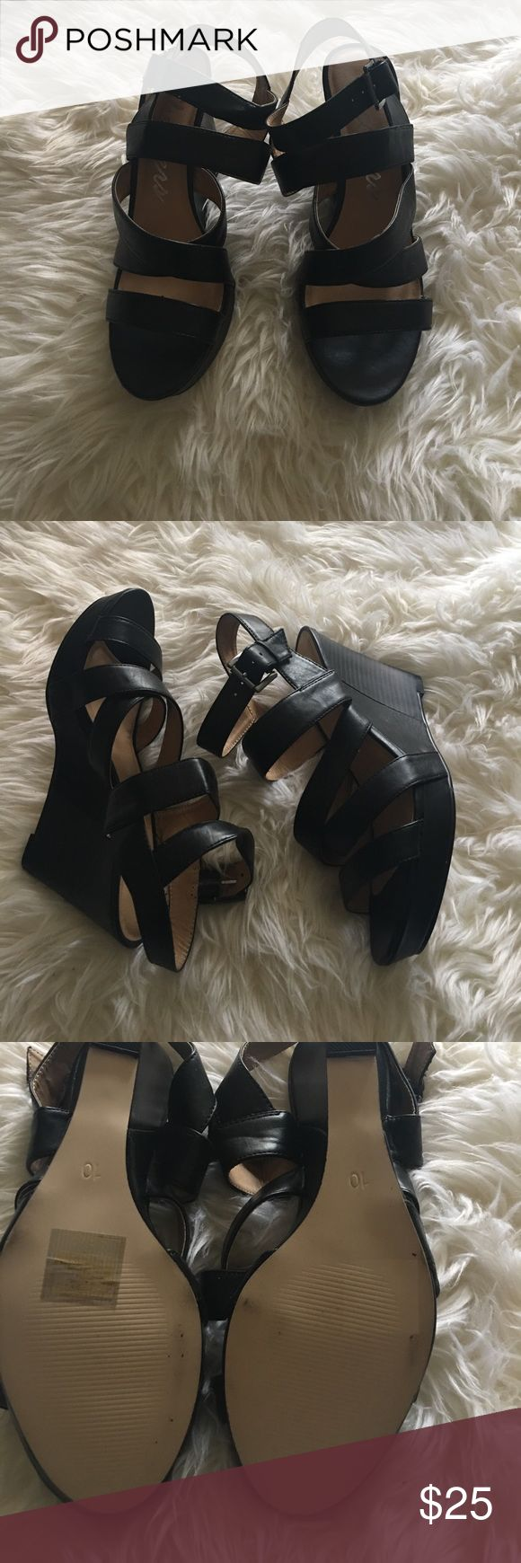 Skechers Black Strip Sandals!! Once worn about twice. Very comfortable sandal. Skechers Shoes Sandals