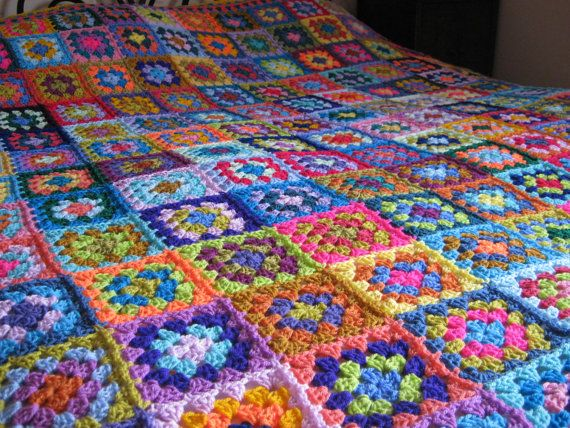 Granny Squares Kaleidoscope Crochet Afghan Blanket by Thesunroomuk