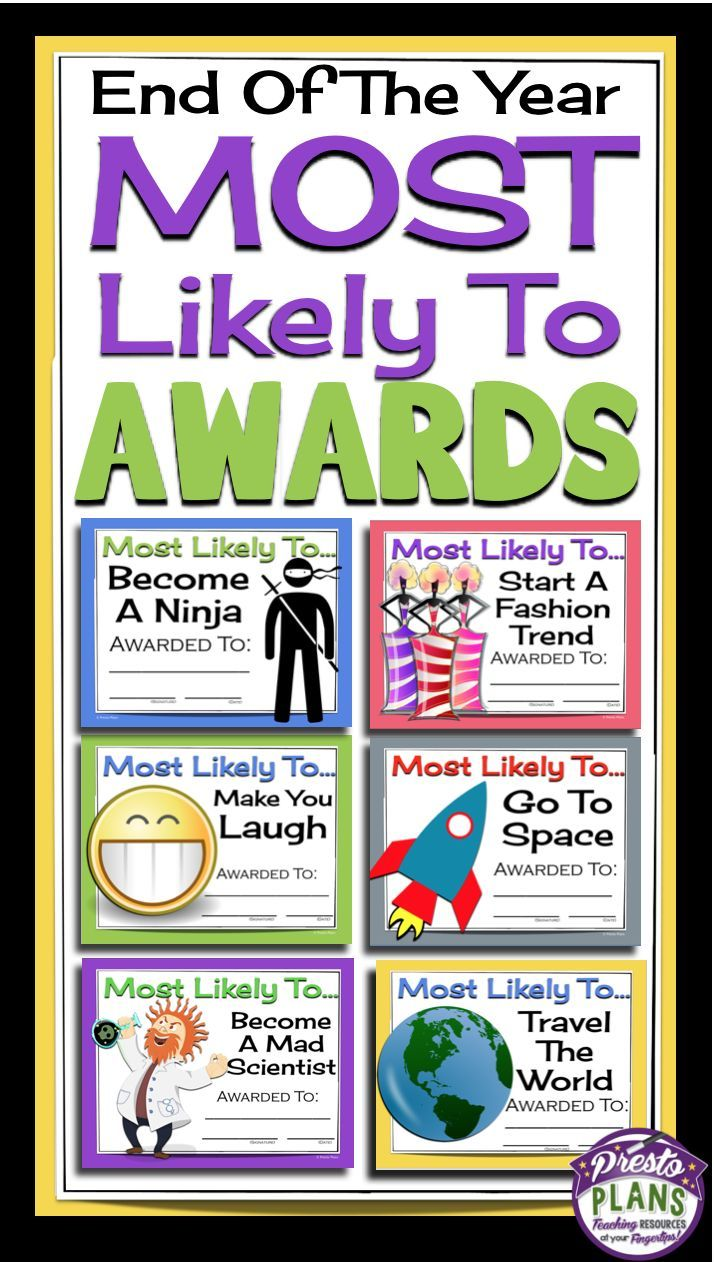 End of the year classroom awards!  Most Likely To... by Presto Plans